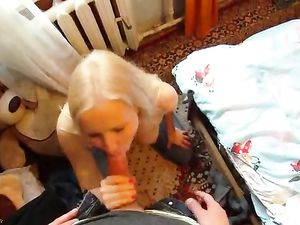 Blonde Gets On Her Knees And Sucks Cock In POV