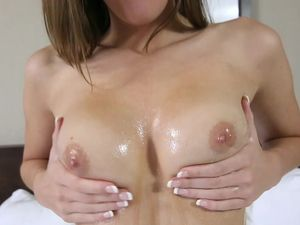 Cutie In A Hotel Room Lubes Her Perfect Teen Tits