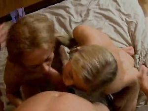 Bent Over Blonde Takes Dick As Her Friend Watches