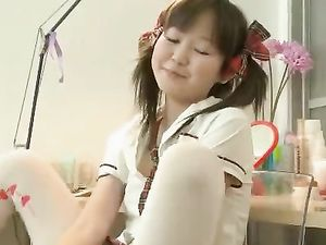Cute Asian Schoolgirl Joyfully Vibrates Her Pussy