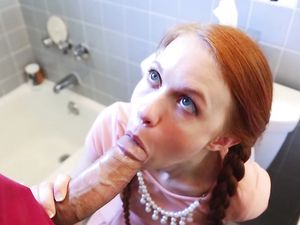 Redhead's Cunt Filled With A Long Boner