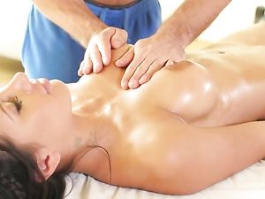 Massage For Busty Brunette Before Getting Fucked